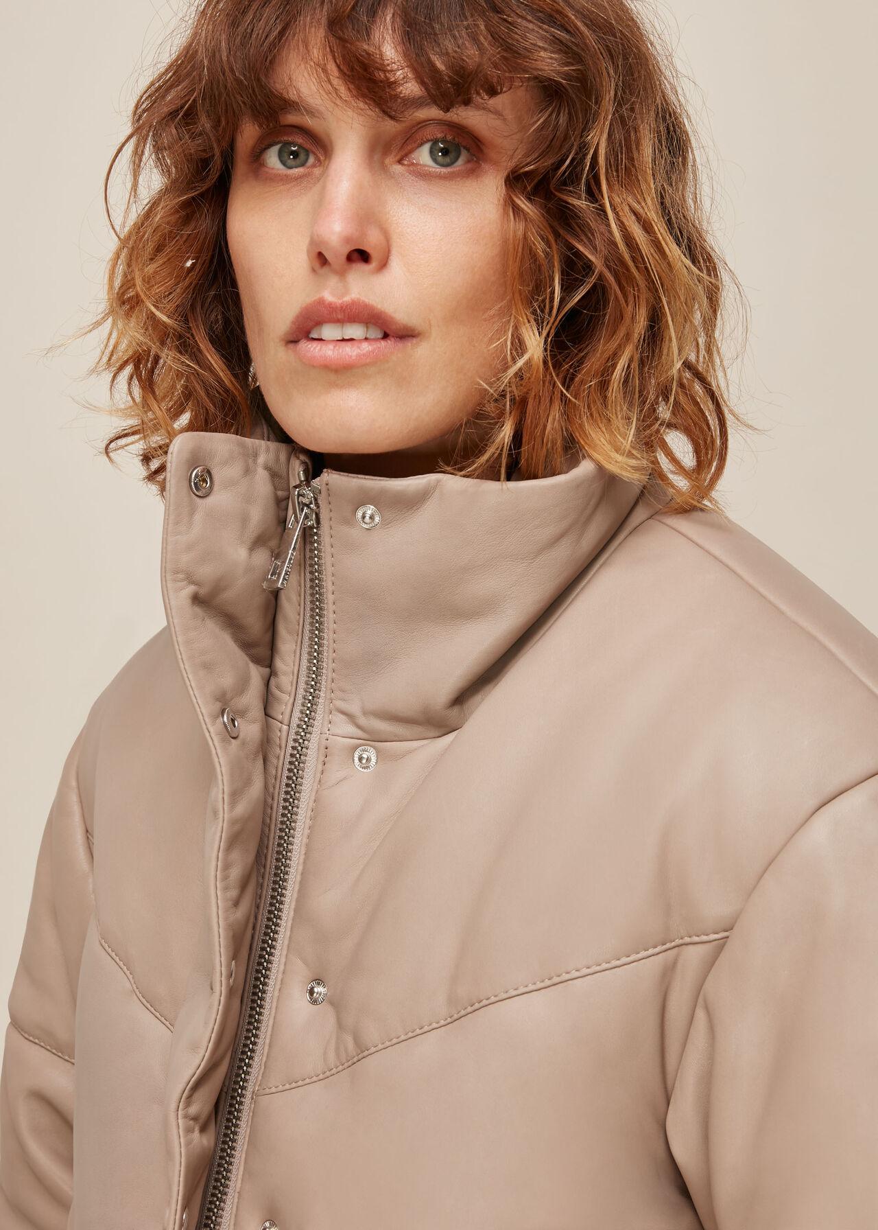 Yaz Leather Puffer Jacket