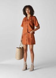 Eldora Linen Pocket Shirt Rust