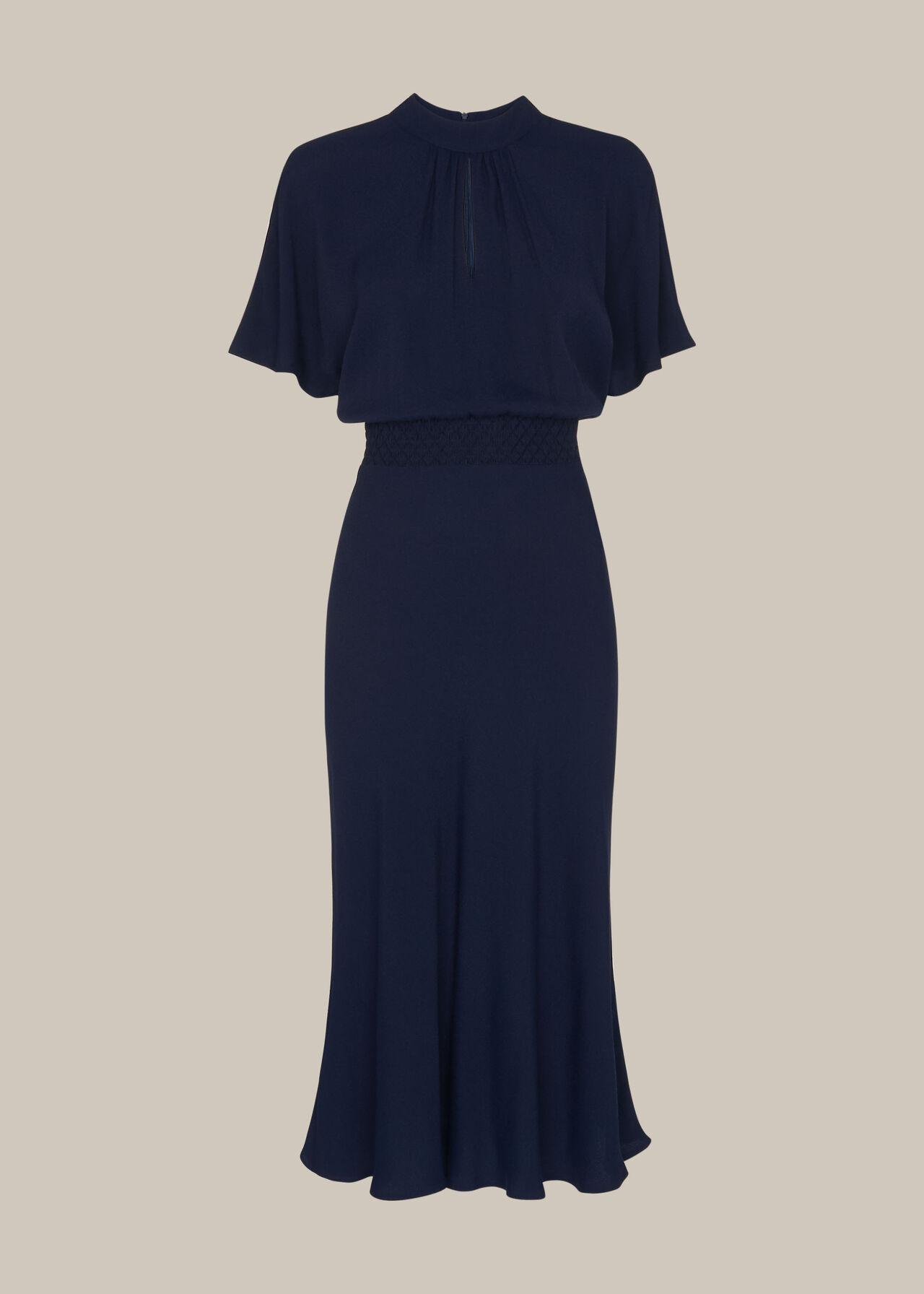 Shirred Waist Midi Dress Navy