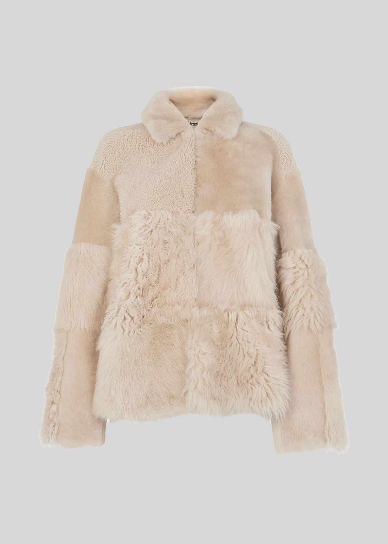 Hema Shearling Coat Ivory/Multi