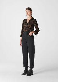 Cheetah Print Pyjama Shirt Black/Multi