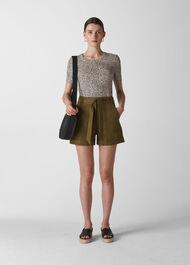 Tie Waist Linen Shorts Olive