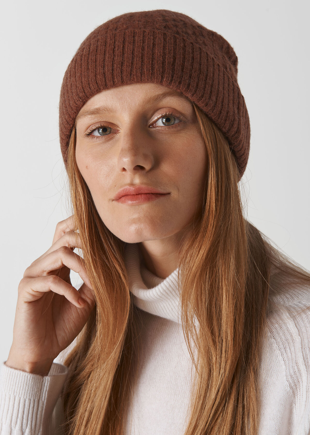 Cable Knit Beanie Hat Camel