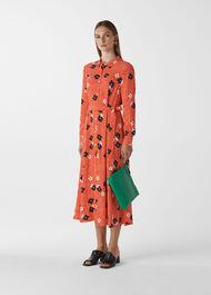 Confetti Floral Shirt Dress Red/Multi
