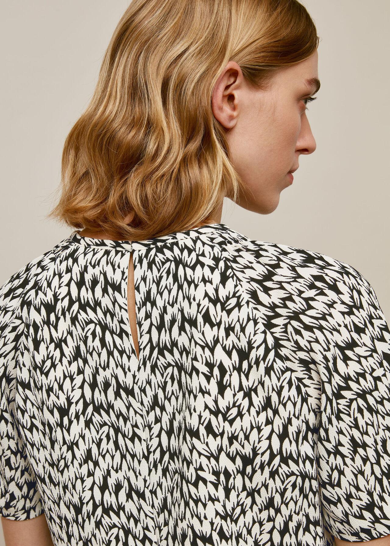 Petal Print Shell Top Black/White
