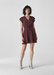 Jazmin Spot Dress Burgundy