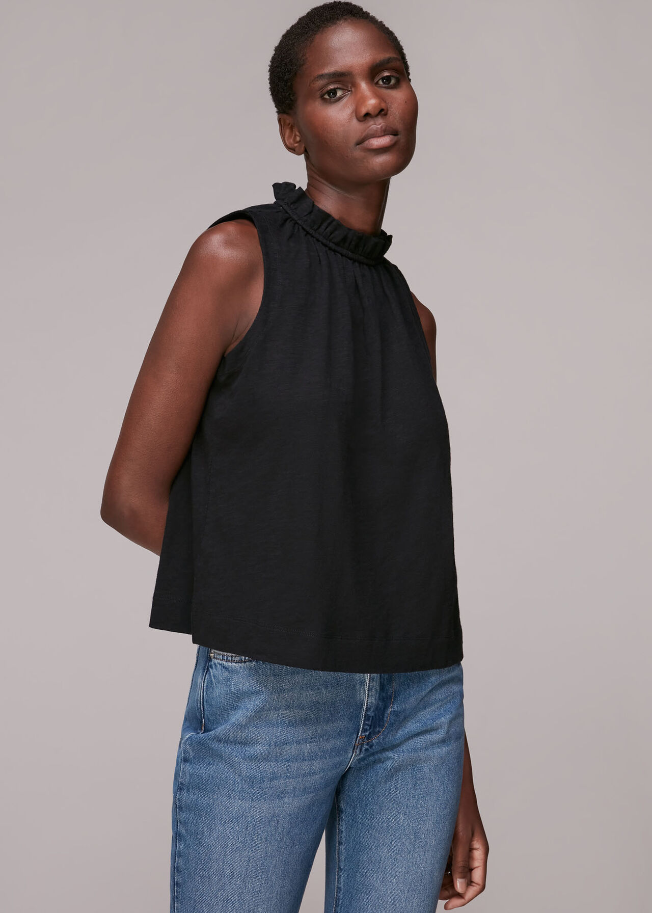 Ruched Neck Sleeveless Top