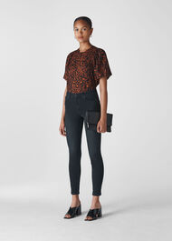 Brushed Leopard Print Top Brown/Multi