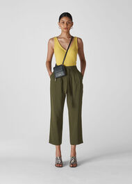 Belted Casual Crop Trouser Khaki