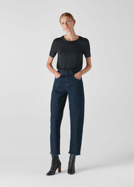 High Waist Barrel Leg Jean