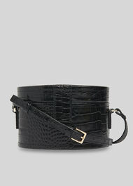 Novah Shiny Croc Tiny Box Bag Black