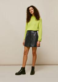 Abella Leather Button Skirt Black
