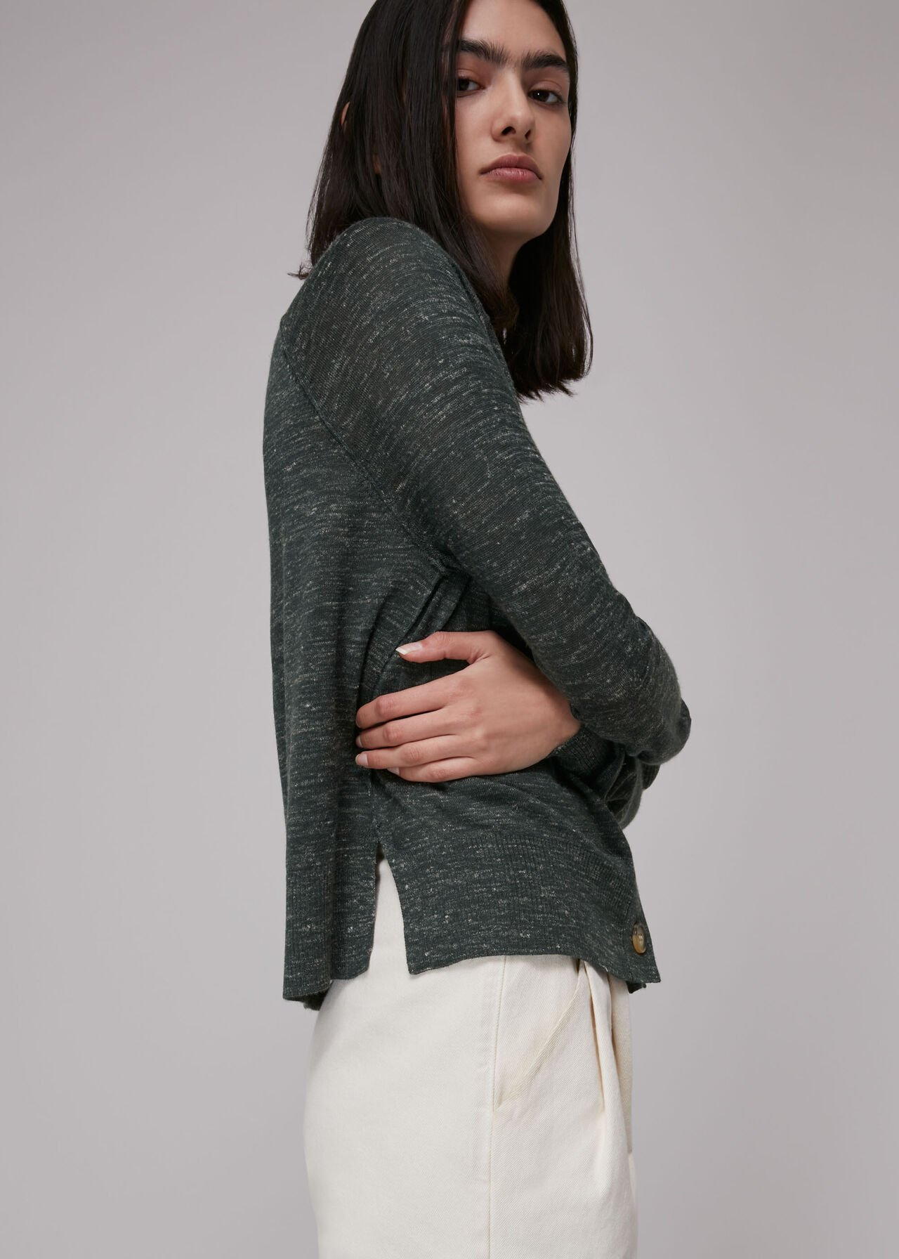 Relaxed Linen Mix Cardigan