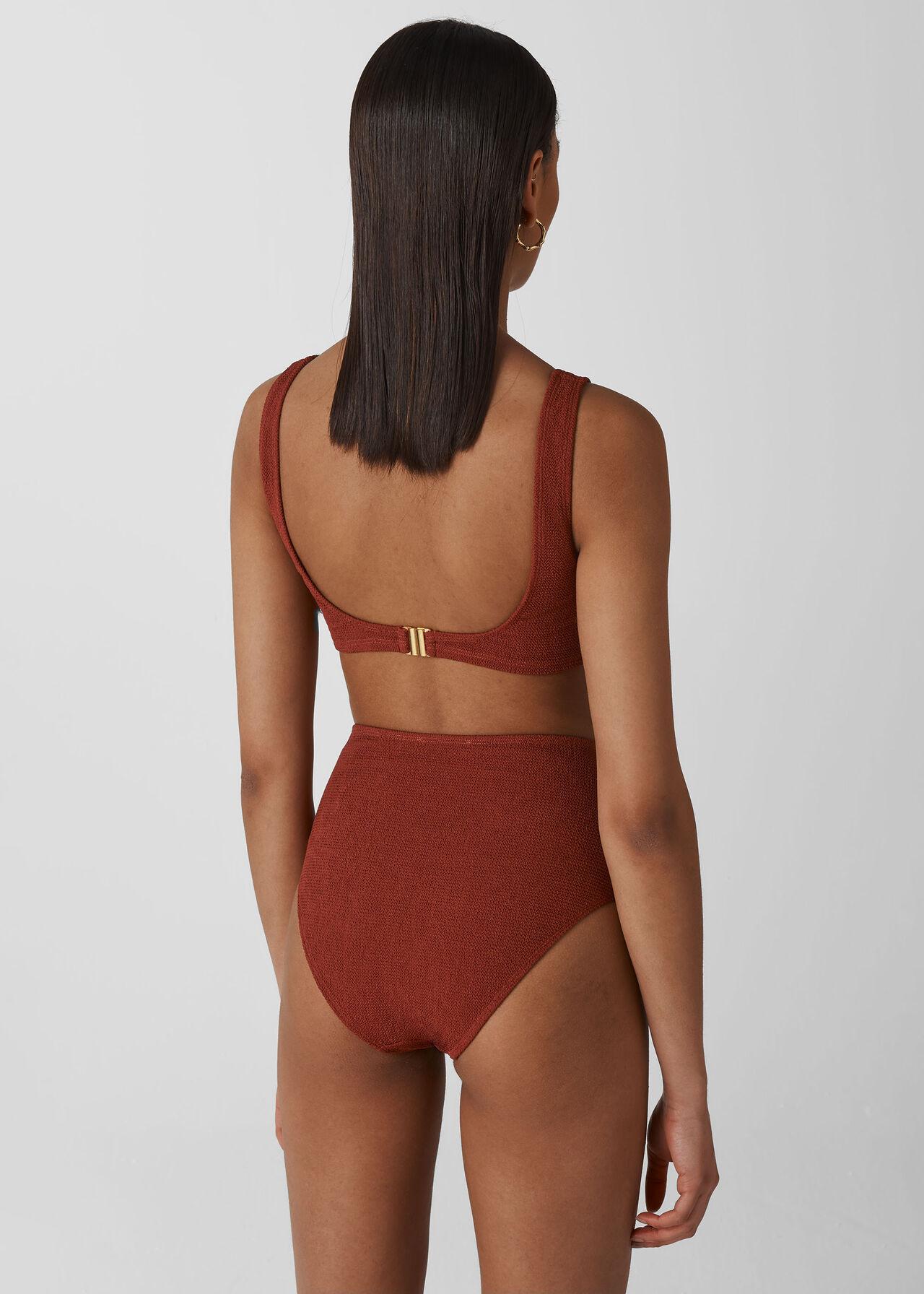 Tort Ring Square Bikini Top Rust