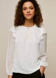 Sophia Dobby Smocked Top Ivory