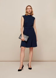 Sleeveless Belted Dress Navy