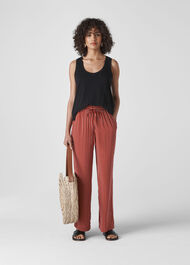 Stripe Wide Leg Trouser Rust