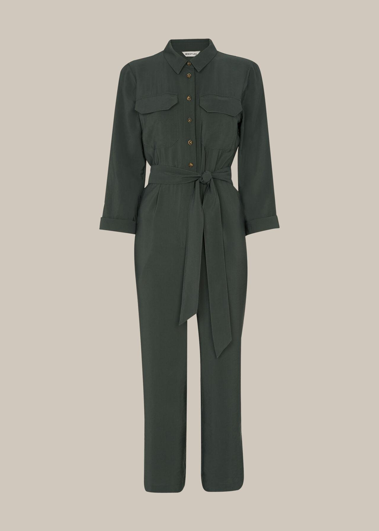 Lacey Pocket Detail Jumpsuit Dark Grey