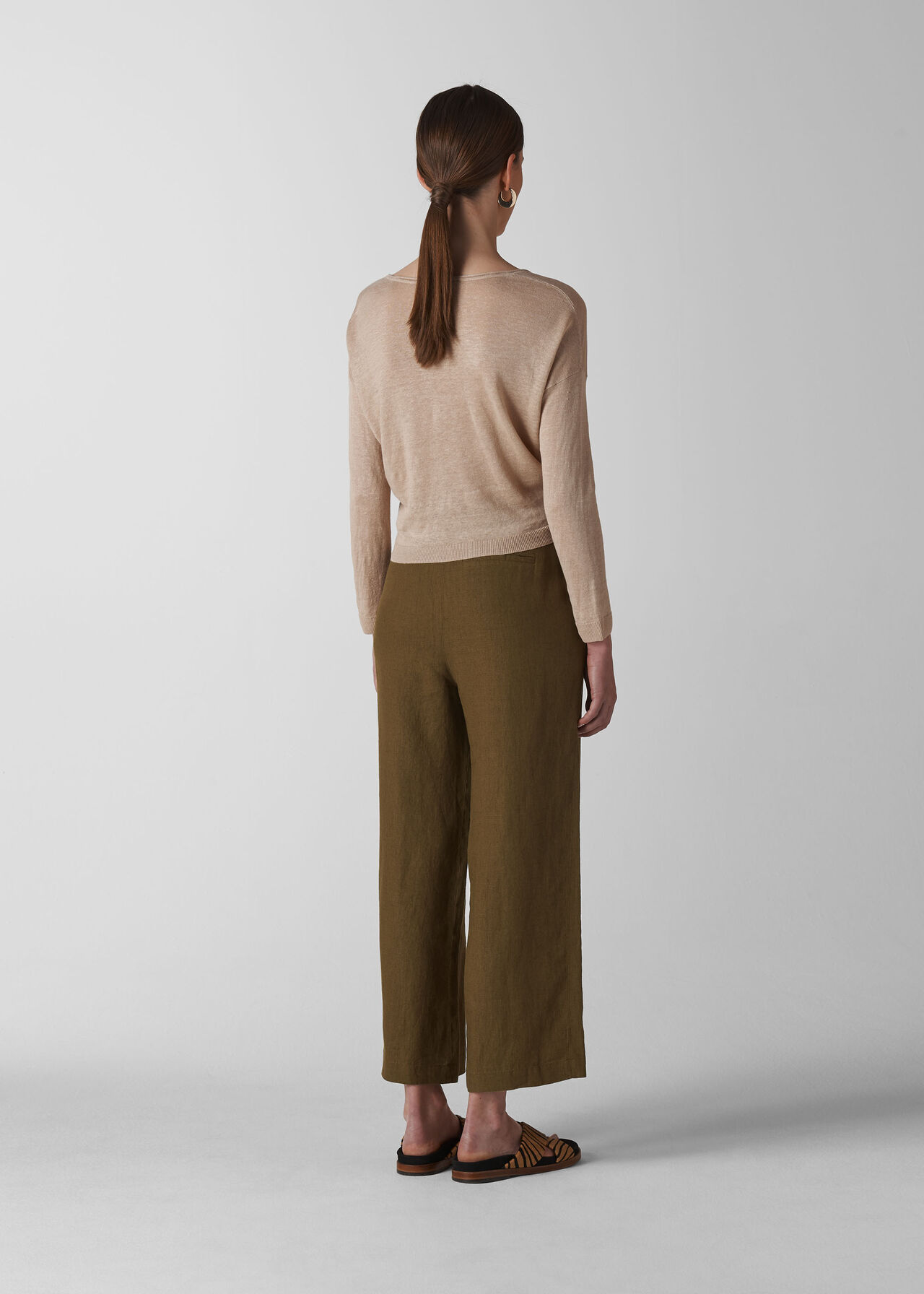Linen Cropped Wide Leg Trouser Olive