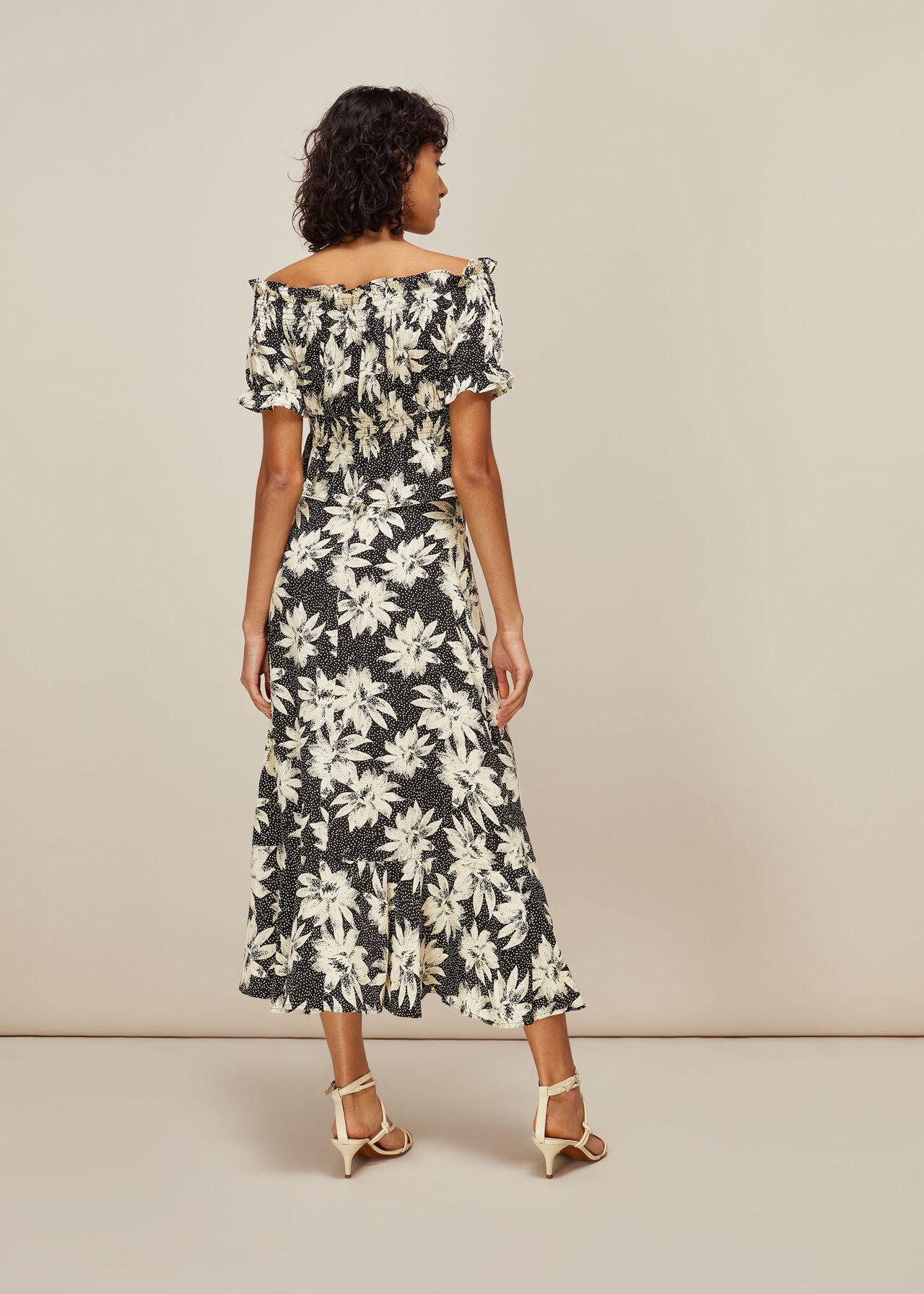 Starburst Floral Wrap Skirt Black/White
