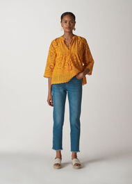 Maggie Broderie Blouse Yellow
