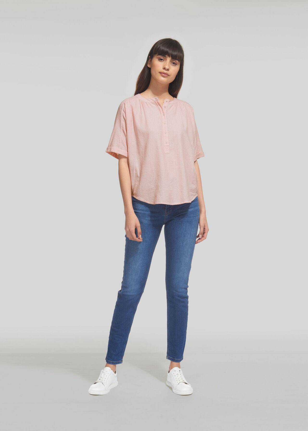 Paula Stripe Placket Blouse Pink/Multi