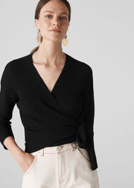 Rib Detail Wrap Top Black