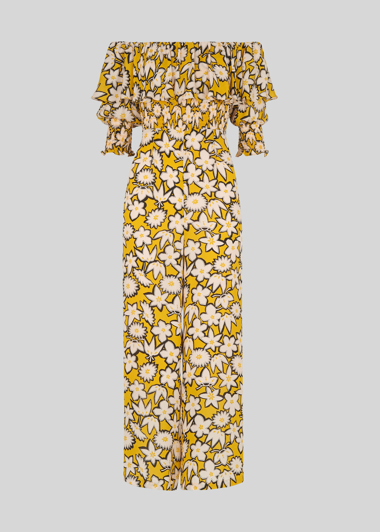Rhea Print Silk Jumpsuit Yellow/Multi
