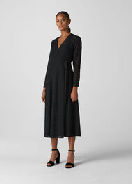 Animal Devore Wrap Dress Black