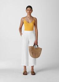 Linen Cropped Wide Leg Trouser White