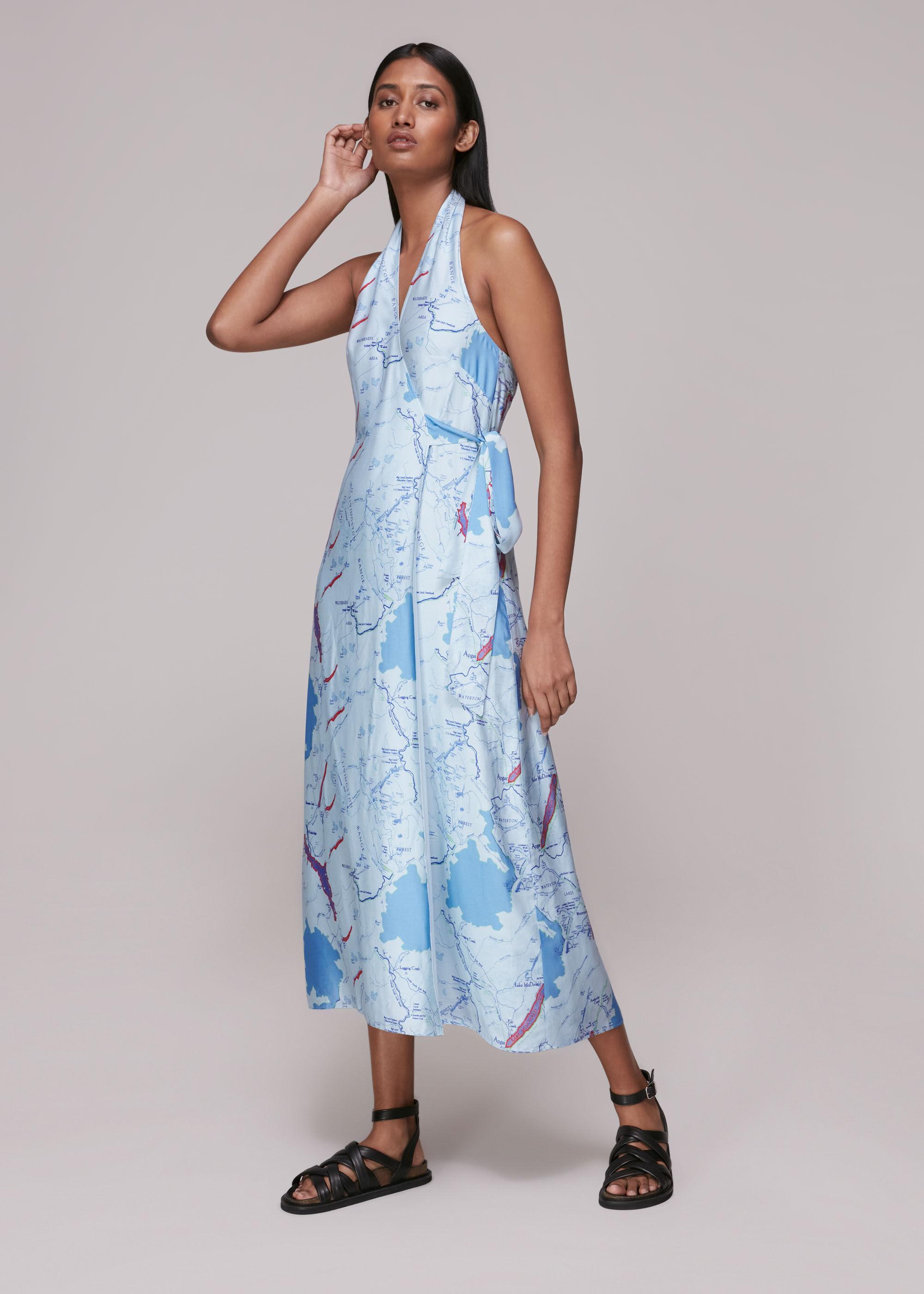 Whistles Women Melanie Map Silk Mix Dress