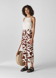 Ella Zebra Print Linen Trouser Brown/Multi