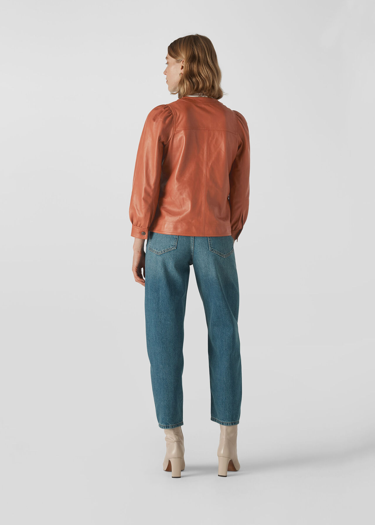 Leather Gathered Sleeve Shirt Toffee