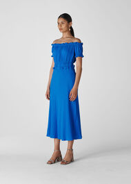 Floren Shirred Bardot Dress Blue