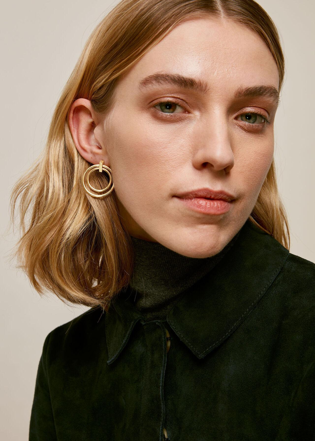 Double Ring Earring Gold/Multi