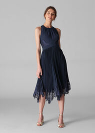 Lana Lace Pleat Dress Navy