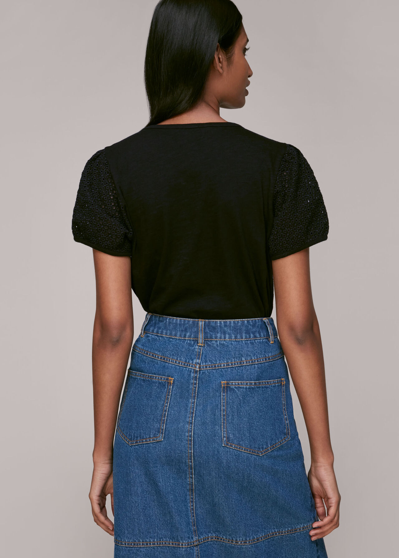 Broderie Puff Sleeve T-Shirt Black