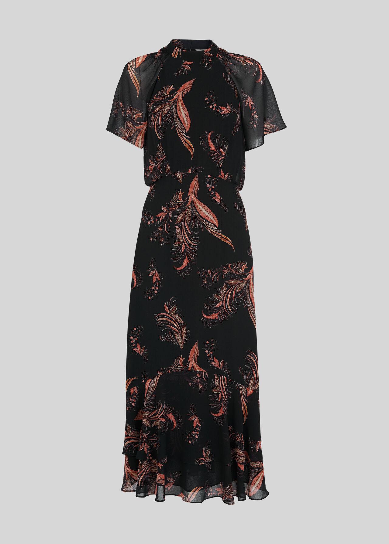 Rose Paisley Leaf Dress Black/Multi