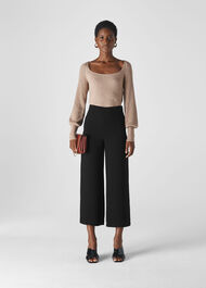 Flat Front Crop Trouser Black