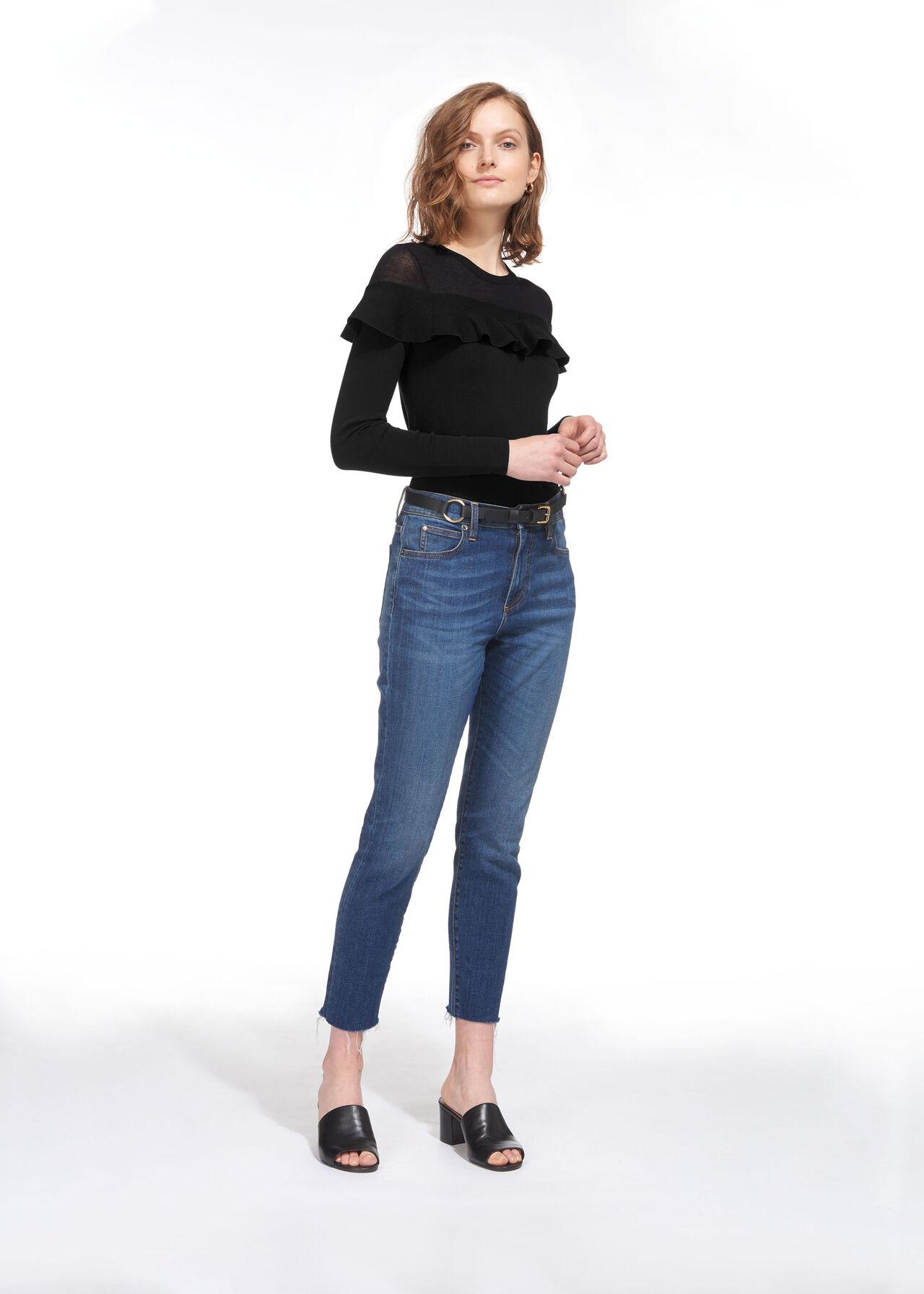 Crop Frill Yoke Sweater Black