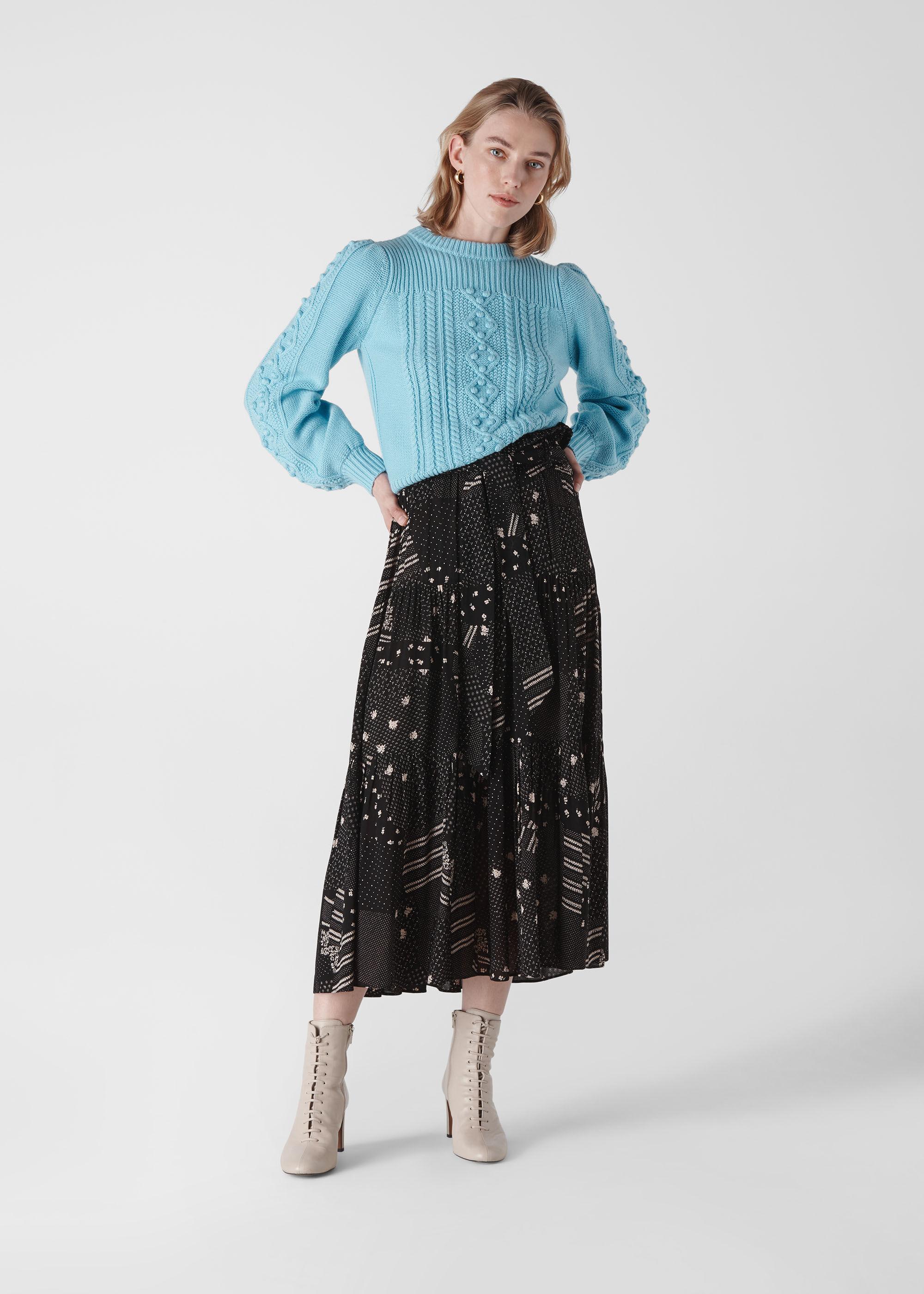 Whistles Women Ona Patchwork Print Skirt