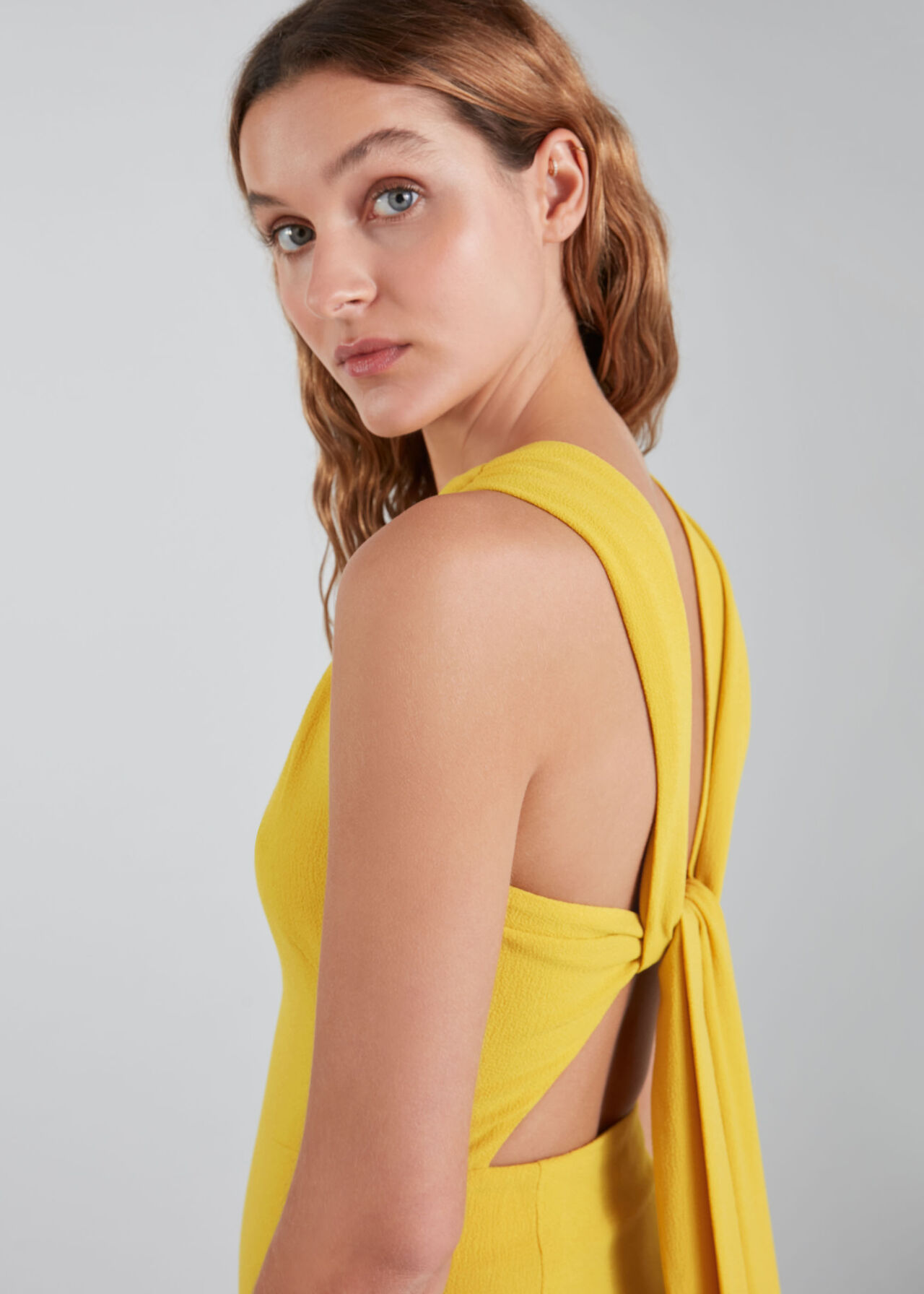 Tie Back Maxi Dress Yellow