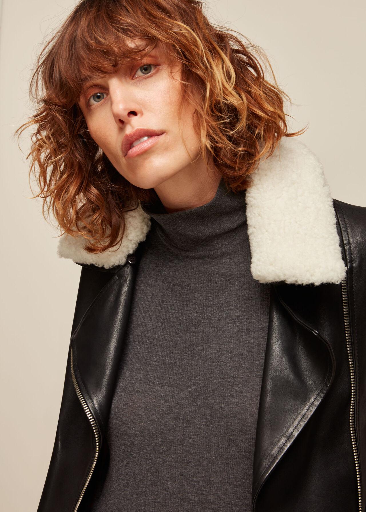 Borg Collar Leather Jacket