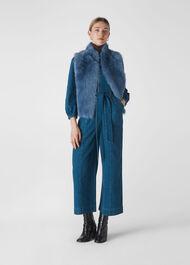 Short Toscana Sheepskin Gilet Blue