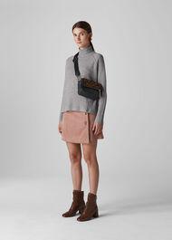 Funnel Neck Wool Knit Grey Marl
