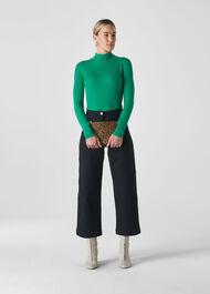 Carmen Ribbed High Neck Knit Green