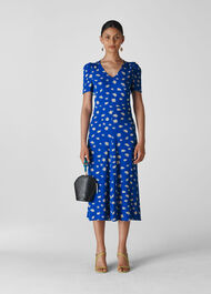 Scattered Daisy Midi Dress Blue/Multi