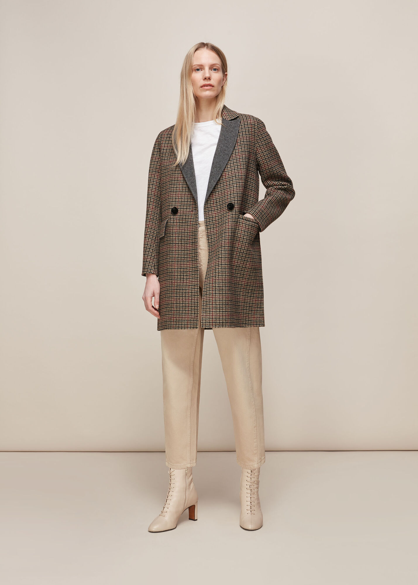 Check Double Faced Short Coat