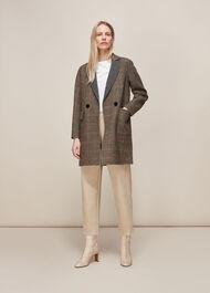 Check Double Faced Short Coat Multicolour
