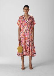 Art Floral Wrap Dress Multicolour